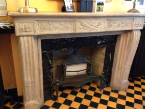 Fireplace in breakfast room