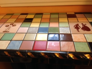 Tile work on top of the breakfast room radiator